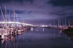 Night Marina (Chris Gin) Tags: longexposure bridge newzealand reflection water night marina cloudy harbour auckland nz westhaven supershot impressedbeauty theperfectphotographer worldwidelandscapes