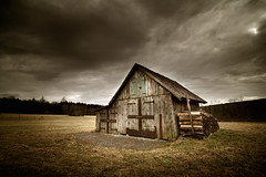 Home For The Dead (Martin Gommel) Tags: wood house grass architecture clouds canon dark landscape iso100 big scary open artistic tag tripod shed surreal wideangle huge shooting f8 schwarzwald blackforest toolshed 30d bracketing 10mm kwerfeldein longtimexposure martingommel