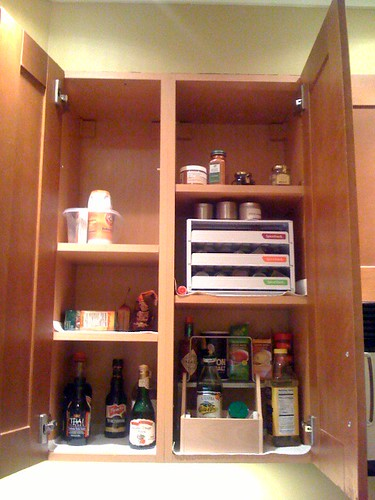 kitchen cure - spice cupboard after decluttering