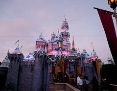 The Castle at Christmas (dusk) (sassyjsavy) Tags: disneyland sleepingbeautycastle
