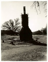 Old Chimney ~ Near Prescott, Arizona ~ Spring 2004 (brettbigb) Tags: arizona chimney bw abandoned 2004 rural polaroid spring 04 az polaroids 667 ruined landcamera polaroidlandcamera polaroid667 automatic230 savepolaroid savepolaroids