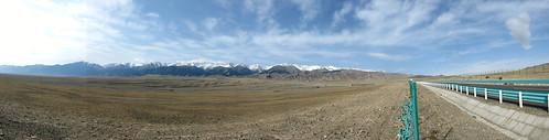 Endless road and sky approaching Wutai, Xinjiang Province, China