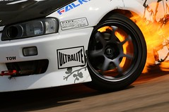 Hot Wheels (GriBBsY) Tags: uk england wheel skyline fire kent nissan flame brake rims circuit scotty flaming allstars tyre jdm falken drifting drift bhp ultralite lyddenhill skylinepartcom bhpperformanceshow pipewerxcom