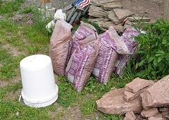 Bags of fine gravel