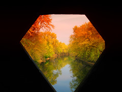 Peeking through the bridge (ddk4runner) Tags: autumn trees copyright orange color fall nature water landscape golden allrightsreserved ddk4runner copyrightdonnakerley donnakerley donnakerley ddkstudio ddk4runner