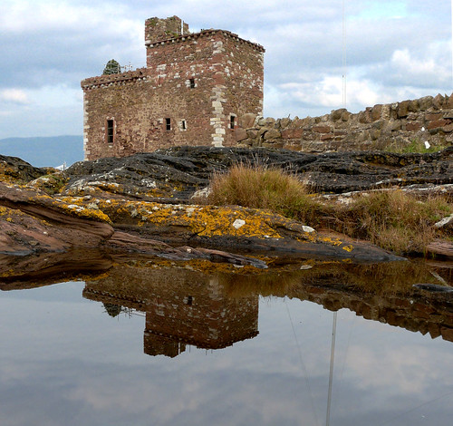 Portencross castle and reflection