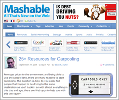 Mashable's 25+ Resources for Carpooling on the Quicken Loans blog