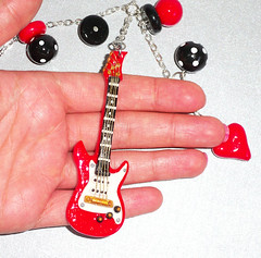 Rearview Mirror Guitar Charm  (polymer clay) (yifatiii) Tags: birthday music car cord mirror blackwhite guitar rearviewmirror charm polymerclay fimo gift rockmusic string sculpey tls kato electricguitar liquidpolymerclay metalfindings guitarcharm