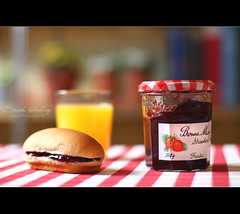 Simple, typical day (Faisal | Photography) Tags: life red orange yellow breakfast canon bread eos still soft dof juice 14 strawberries ii usm jam 50 tones ef 580ex ef50mmf14usm 50d canoneos50d faisal|photography فيصلالعلي simpletypicalday