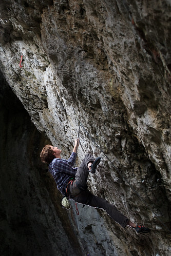 Nick on Nemesis, 8a+, Cheedale Cornice