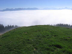 View over the clouds in the valley I (AN/sascha) Tags: blue autumn sky panorama oktober white mountains verde green film blanco grass clouds forest canon october herbst oberbayern meadow wiese himmel wolken 2006 an berge bosque cielo nubes otoo gras octubre prado wald weiss blauerhimmel gruen montaas cesped abovetheclouds eos300 zwiesel voralpen ueberdenwolken abovethevalley bayerischevoralpen ansascha overthevalley anobservingdocumenting