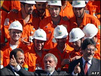 Brazil's Lula offers thumbs up to news of finding a monster oil field.