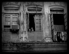 (makita ^) Tags: windows people bw asia yangon ventanas myanmar balcon makita blueribbonwinner bwdreams rangun ltytr1