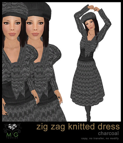 [MG fashion] Zig zag knitted dress (charcoal)