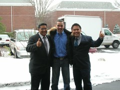 Los tres amigos en la nieve