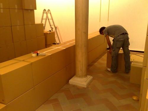 Construcción muros cartón