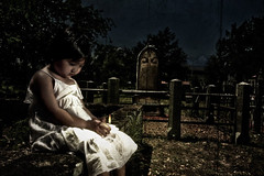graveyard shift (dubrillantes) Tags: girl graveyard kids photoshop child ghost staugustine pp whitedress supershot aplusphoto theperfectphotographer
