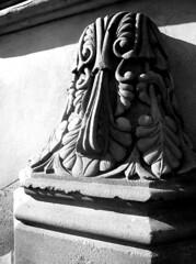 Bethesda Terrace carved sandstone post (ggnyc) Tags: nyc newyorkcity botanical sandstone centralpark manhattan stonework scrollwork gothic masonry carving classical romanesque bethesdaterrace calvertvaux olmstedandvaux jacobwreymould palmette