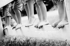 .boy feets. (meganhaughery) Tags: summer blackandwhite bw feet boys fence cousins five siblings explore portfolio meganrussell