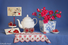 Happy Valentine's Day! (Phyllis Freels) Tags: phyllisfreels valentine valentinesday blue candy carnations chocolate flowers heart love postcard red stilllife tabletop teapot vase white