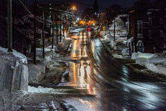 Pre-Dawn Winter Walk (James P. Mann) Tags: winter snow dark light cars lights street mountain road