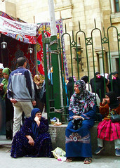 Cairo women at festive mosque