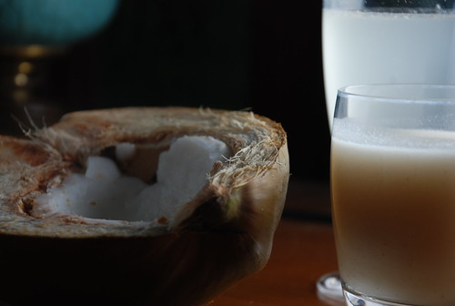 coconut meat, milk, and water