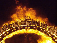 Burning Bridges (a3rynsun) Tags: wood bridge fire effigy burningflipside 2011 burnnight