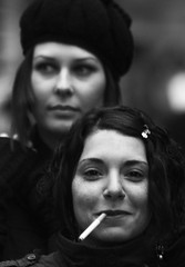 Portrait 120 (Itzick) Tags: people bw girl beautiful smiling eyes couple faces pair young lips smoking lovely youngster youngwoman smok monochromia anawesomeshot