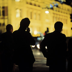 d/classified (memetic) Tags: city urban men 120 6x6 station mobile night mediumformat three call phone kodak tl silhouettes melbourne suit trio flinders p6 pentaconsix sonnar 180mm epl 400x ruckenfigur rckenfigur