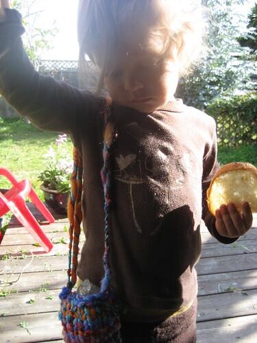 Crazy art yarn+crystal= happy second birthday boy!