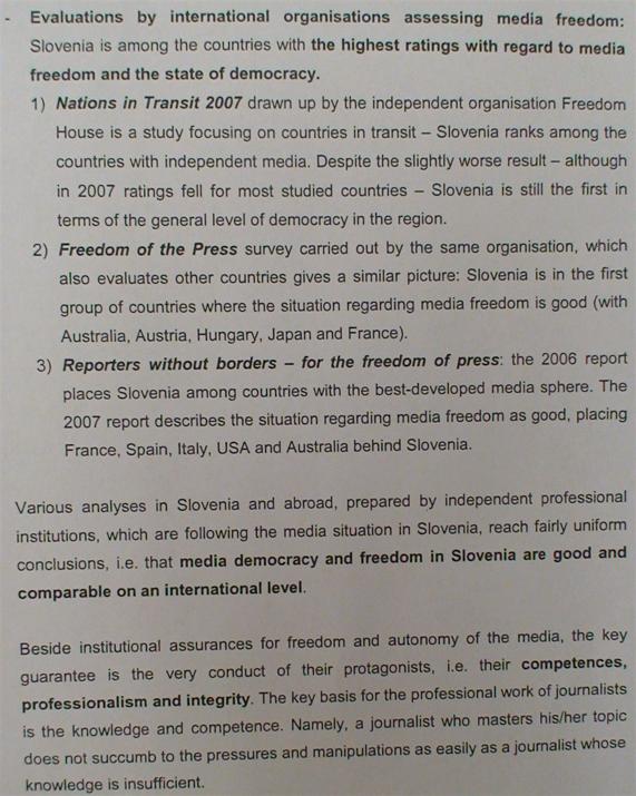 (www.vest.si) Sporočilo vladnega urada tujim novinarjem