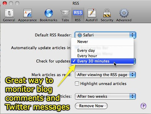 Monitoring twitter and blog comments with Safari RSS