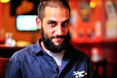 osama bin ming mong (mugley) Tags: portrait blur dan smile corner beard pub nikon dof bokeh australia melbourne victoria osamabinladen notreally swanstonst d300 50mmf14d topbloke shootwideopen afterworkdrinks abeckettst mingmong oxfordscholarhotel