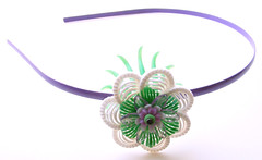 Purple, Green and White Vintage Flowers Headband