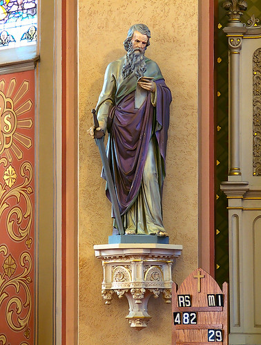 Saint Peter Roman Catholic Church, in Saint Charles, Missouri, USA - statue of Saint Paul