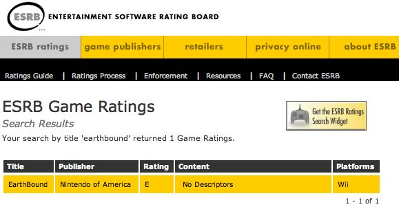 Earthbound Rated by ESRB for Wii