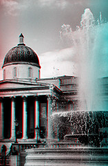 National Gallery & Fountain 3D Anaglyph (coronetv000) Tags: 3 london fountain square three stereos