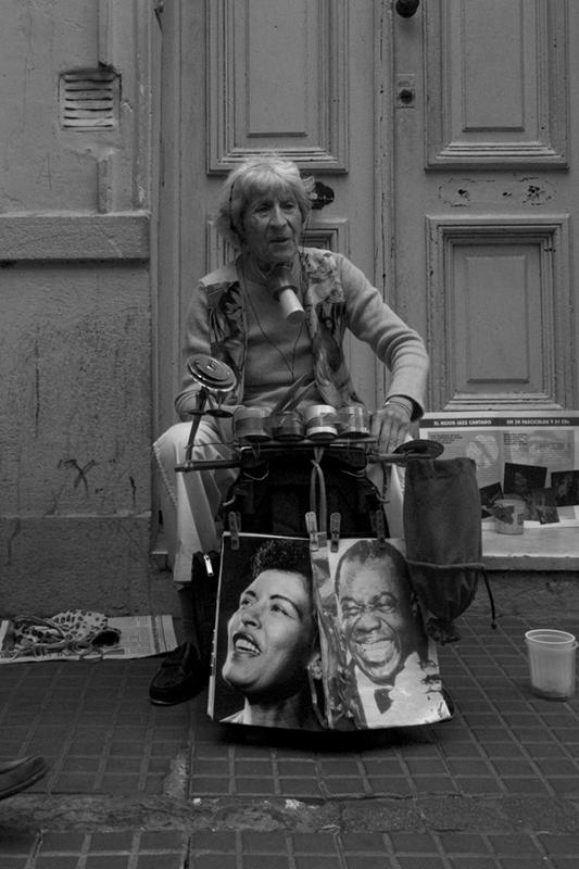 Granny street performer