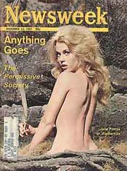 J Fonda selling Newsweek and its fine journalism on the permissive society. Fonda was starring in Barbarella, who, far from epitomizing the permissiveness, saluted her boss, even when it meant sacrificing personal privacy.