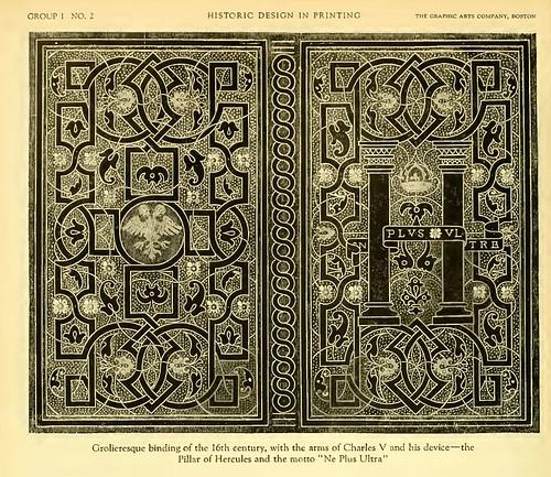 01a-Cubierta Glolineresca del siglo XVI con las armas y divisa de Carlos V
