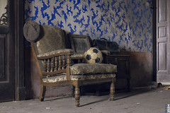 The Home of Football #2 - Unforgettable Memories - (Stokaz) Tags: canon 40mm f28 stm urbex decay urban exploration abandonment raw last time stokaz 2017 house football soccer ball hat bag chair explore