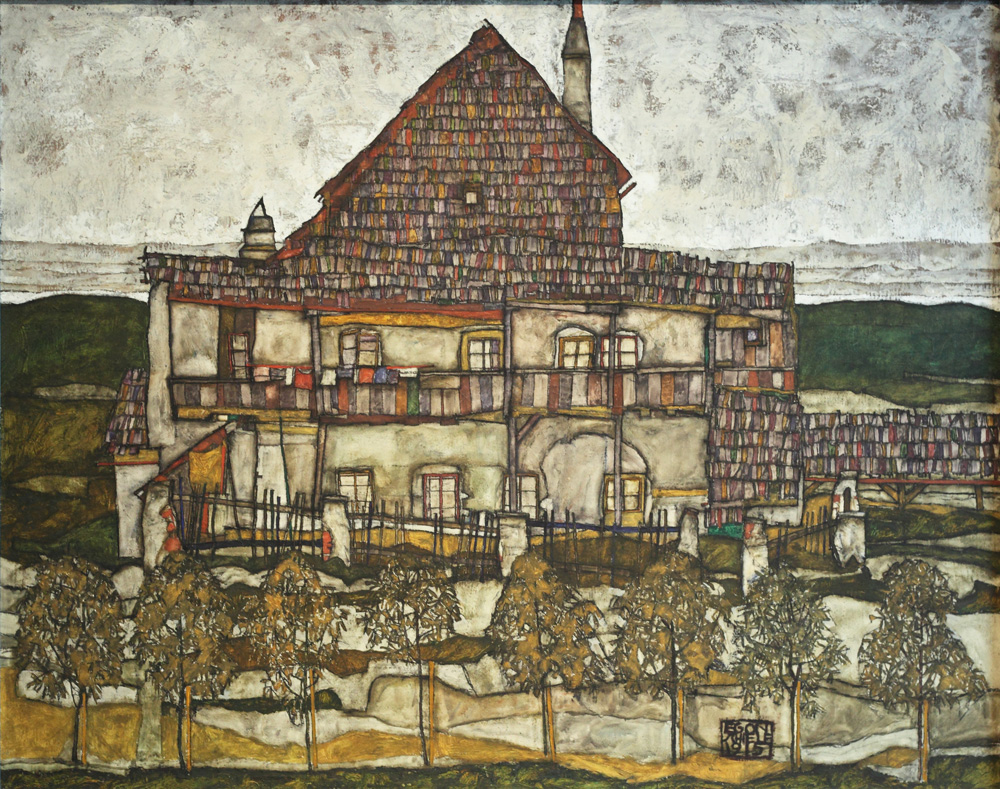 Egon Schiele, Haus mit Schindeldach (Altes Haus) [House with Shingle Roof (Old House)], 1915