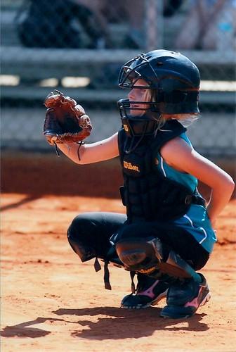 Nicole playing catcher