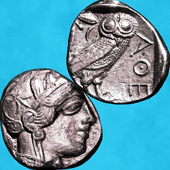 Tetradrachm = τετράδραχμον (fillzees) Tags: coin silver ancient owl money drachma greek ελληνικά metal currency profile head bird animal word obverse reverse athens tetradrachm athena antiquity antique coinage numismatics epigraph