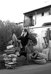inflatable whale (Dave Road Records) Tags: blackandwhite beach waves greece crete