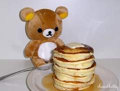pancakes for dinner (iheartkitty) Tags: thanksgiving bear pancakes dinner toys happy plush kawaii rilakkuma sanx relaxbear iheartkitty