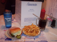 Dagwood Burger, Fries and Root Beer homeade (Wally_Wabbit) Tags: food usa water lunch restaurant connecticut burger newengland ct frosty drivein nostalgia cheeseburger fries burgers american hamburger mug rootbeer bethel oldfashioned