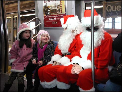 Santas on train