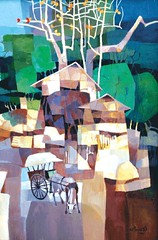 Rural Scene #4, by Tin Maung oO, acrylic on canvas, 114x83cm